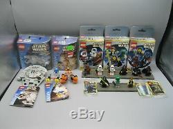 Lot of Vintage Lego Star Wars Miniatures Figure Packs Slave 1 B-WIng Snowspeeder