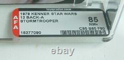 $RARE$ Debut First Vintage Kenner Star Wars AFA 85 Stormtrooper 12 Back A Carded