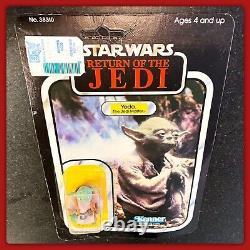 Rare! 1983 77 Back Brown Snake Pac Man Eyes Yoda Moc Vintage Star Wars Figure