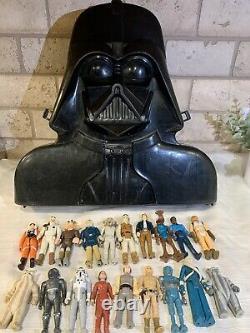 Vintage 1980 Star Wars Collectors Darth Vader Case Kenner + 19 Action Figures