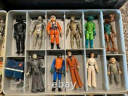 Vintage Kenner Star Wars Cases & 45 Figures Lot & Accessories