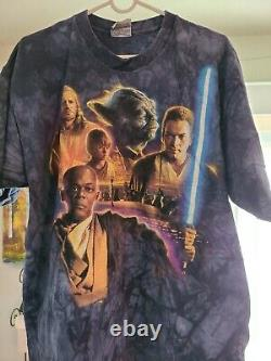 Vintage Liquid Blue Star Wars Jedi Council tie dye shirt Size X Large XL Mace