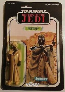 Vintage Rotj Moc Tusken Raider Hollow Cheek Tubes 65b Punched Excellent Hk Coo