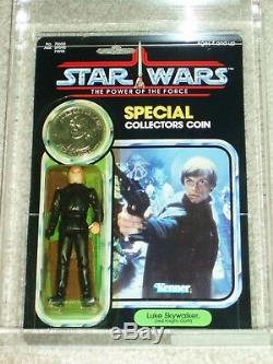 Vintage Star Wars 1985 AFA 80/85/85 LUKE SKYWALKER JEDI KNIGHT POTF 92 BACK MOC