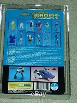 Vintage Star Wars 1985 AFA 80 RARE R2-D2 DROIDS CARTOON TV SERIES card back MOC