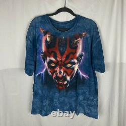 Vintage Star Wars Darth Maul Liquid Blue Tie-Dye Shirt Large 90s