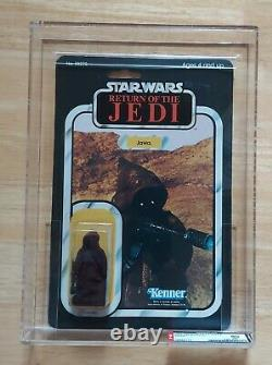 Vintage Star Wars JAWA AFA 80 80/80/90 RARE CLEAR BUBBLE! Return of Jedi 65 back