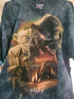 Vintage Star Wars Yoda Liquid Blue Tee Shirt Size X Large XL Rare Jedi Council