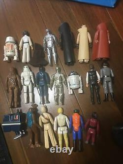 Vintage kenner star wars action figures lot with case and accessories